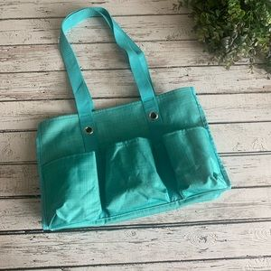 Thirty-One Utility Tote Turquoise cross pop
